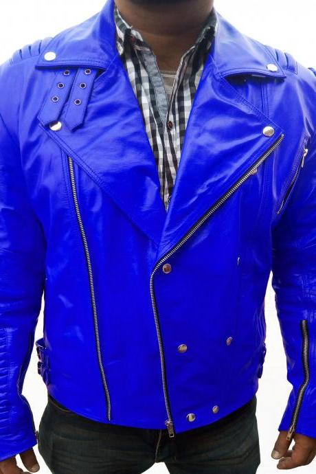 Handmade Slim Fit Men Blue Fashion Leather Jacket Men