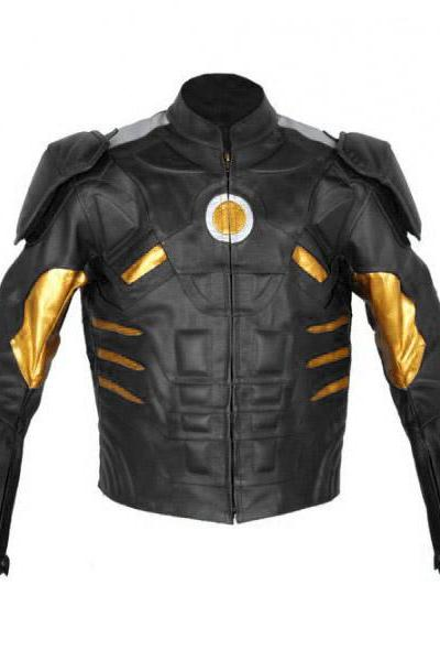Iron Man Red Original Leather Motorbike Jacket, Celebrity Leather Jacket