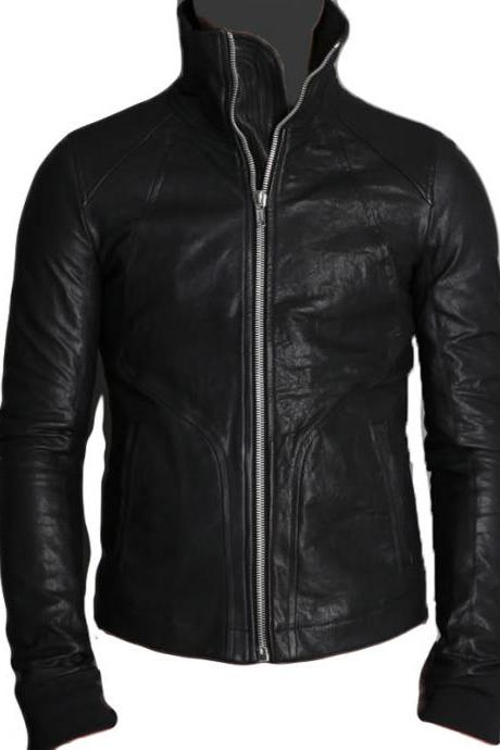 MEN TOE CAP TRAINERS HIGH NECK INTARSIA BLACK LEATHER JACKET