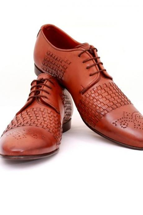 Handmade Lace up wavy leather formal leather Shoes Boots Men