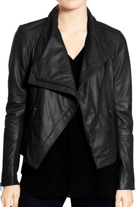 Women Black Wide Collar Leather Jacket,Fashion Zipper Style Jacket