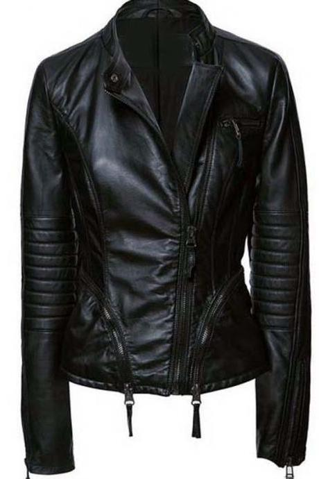 WOMEN BLACK LEATHER JACKET, FASHION LEATHER JACKET WOMENS