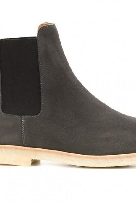 Handmade Black Chelsea Suede Leather Boots, Men Ankle Boots Shoes