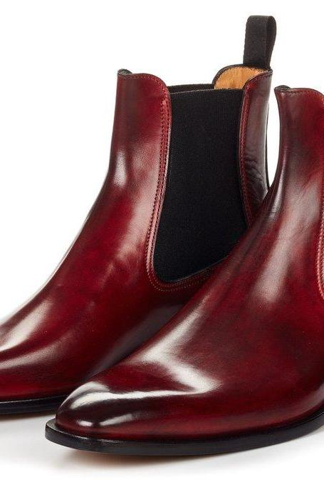 Handmade Men Chelsea Oxblood Maroon Leather Boots Ankle high Shoes