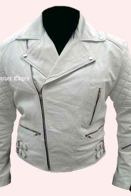 MEN WHITE ZIPPED BRANDO BIKER FASHION LEATHER JACKET, WHITE BRANDO JACKET