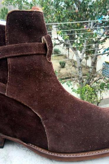 Handmade Jodhpurs Chocolate Brown Suede Boots, Ankle Boots Men