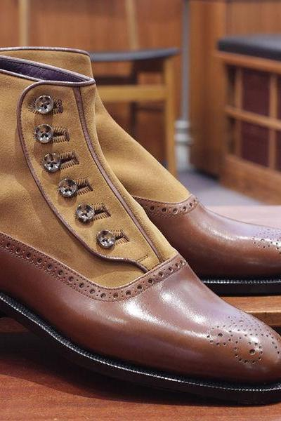 Handmade Men Brown Buttons Boots, Jeans Ankle Boots