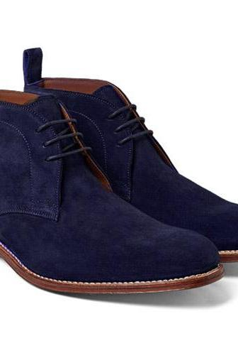 Handmade Chukka Shoes Navy Blue Lace up Men Leather Sole Boot