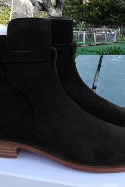 jodhpurs Black Suede Leather Sole Boots Fashion Boot Handmade Men