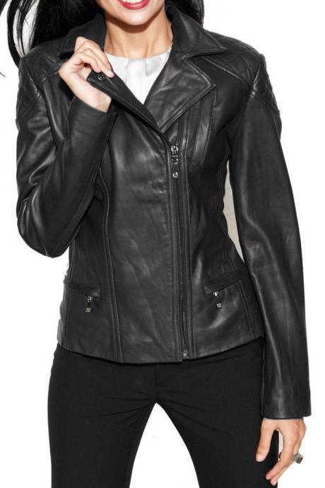 Women's Brand New Fashion Motorcycle Cow Leather Slim fit Jacket