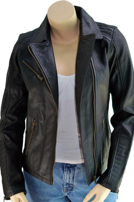 New Designer Awesome Lambskin Motorcycle Leather Jacket For Women