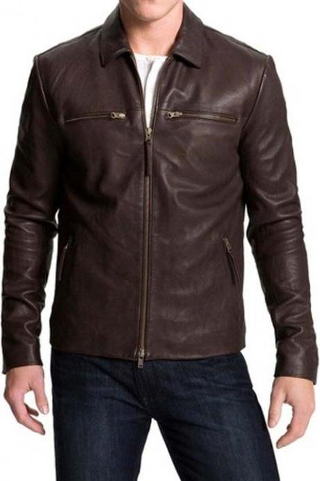 Men Biker Brown Fashion Leather Jacket, Handmade Jacket, Fashion Jacket