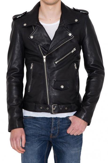 Men Handmade Leather Jacket Black Slim fit Biker Stylish Genuine Lambskin