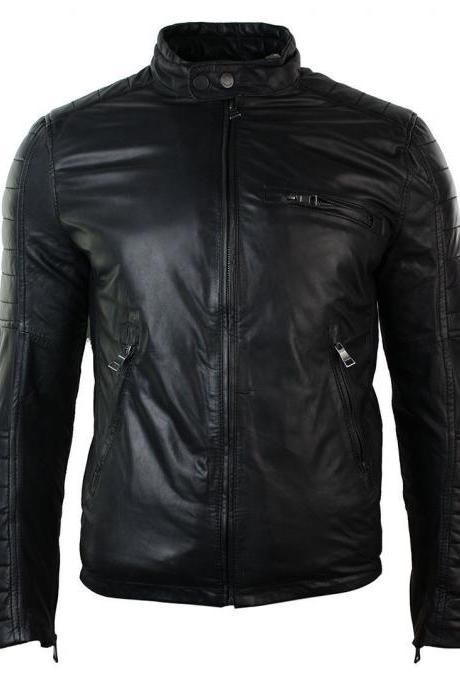 Men`s Slim Fit Retro Real Leather Biker Jacket, Handmade Leather Fashion Jacket