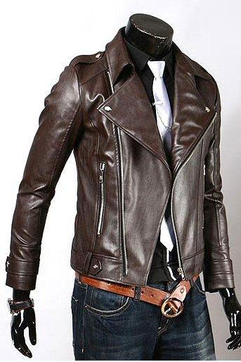 Men's Fascinating Brown Biker Leather Jacket, Slim Fit Brown Leather Jacket