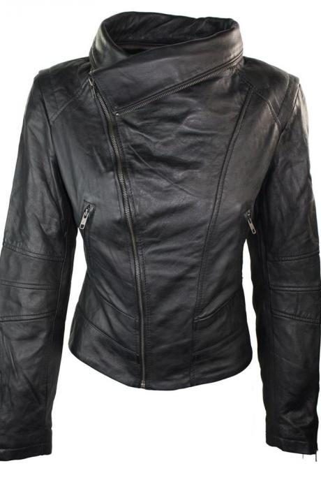 New Ladies Women Real Leather Slim Fit Jacket Racing Fashion Biker Jacket