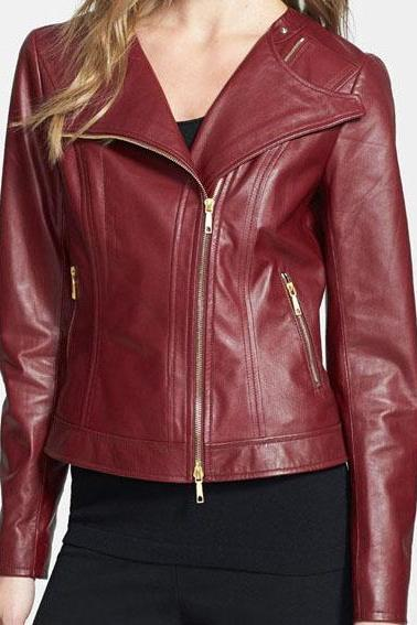 New women Red biker Leather Jacket, women Maroon biker Leather Jacket