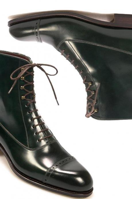 New Handmade Ankle High Green Lace Up Cap toe Leather Boots Men's