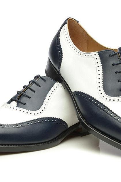 New Handmade White Navy Wing tips Leather Shoes, Men's Oxford Wedding Office Shoes