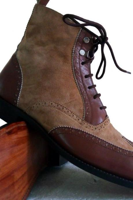 Handmade Ankle High Two Tone Boots, Suede And Leather Formal Shoes Men's