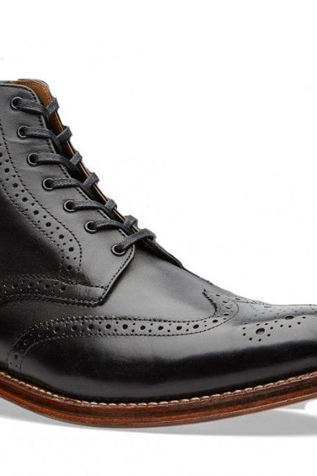 New Men's Ankle High Black Brogue Handmade Boot, Black Brogue Detailing Boots
