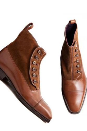 New Handmade Men Fashion Elegant Cap Toe Buttons Boots, Brown Ankle High Button Boot