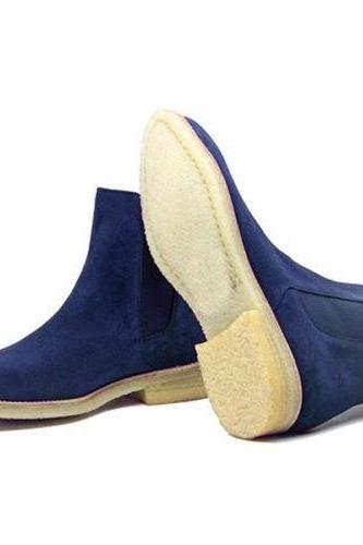 New Chelsea Crape Sole Handmade Men's Blue Boot Men Suede Chelsea New Fashion Boots