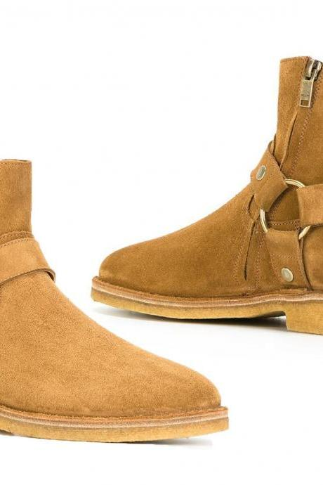 New Jodhpurs Suede Boots, Desert Fashion Ankle Boots Monk Starpe Crape Sole Men