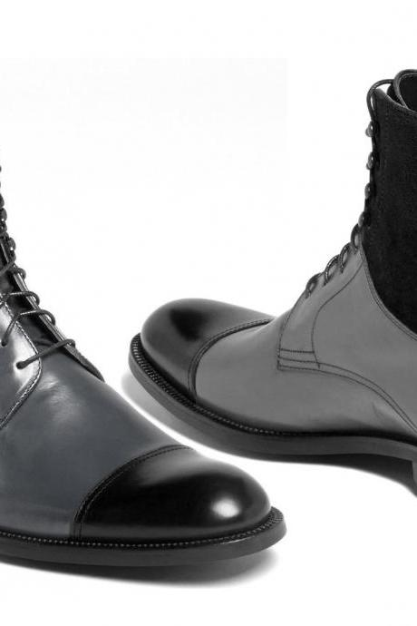 NewHandmade Gray Black Cap Toe Leather Suede Boots