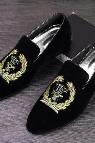 New Handmade Velvet Loafers Party Embroidered black Velvet Slipper Driving Moccasins