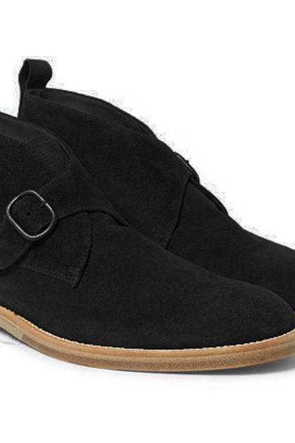 New Handmade Black Suede Boot Monk Strap Desert Boots Men