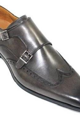 New Handmade double monk strap shoes, men dress leather shoes, wingtip shoe for men