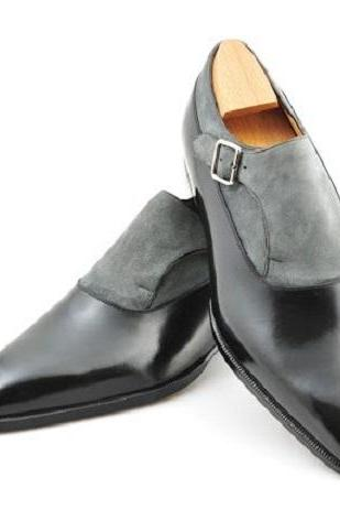 New Men Fashion Black and Grey two tone monk shoes Men formal leather shoes