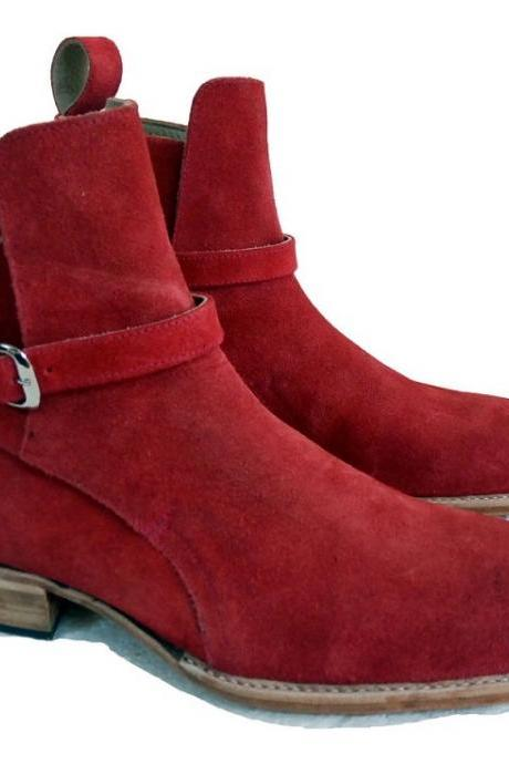 New Handmade Jodhpurs Red Suede Boots, Party Dress Boot Ankle Boots Monk Strap