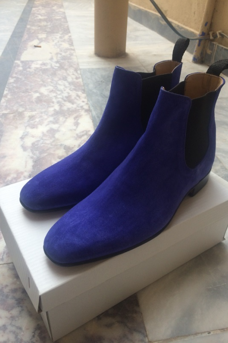 New Handmade Men's Blue Boots With Toe Genuine Suede Chelsea Leather
