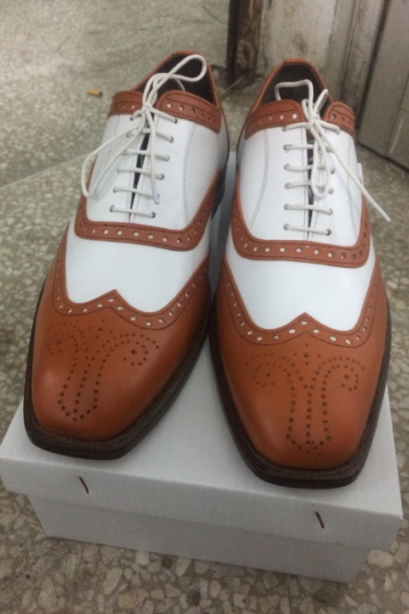HANDMADE BROWN AND WHITE SHOES, MEN'S BROGUE LEATHER SHOES, MEN LEATHER SHOES