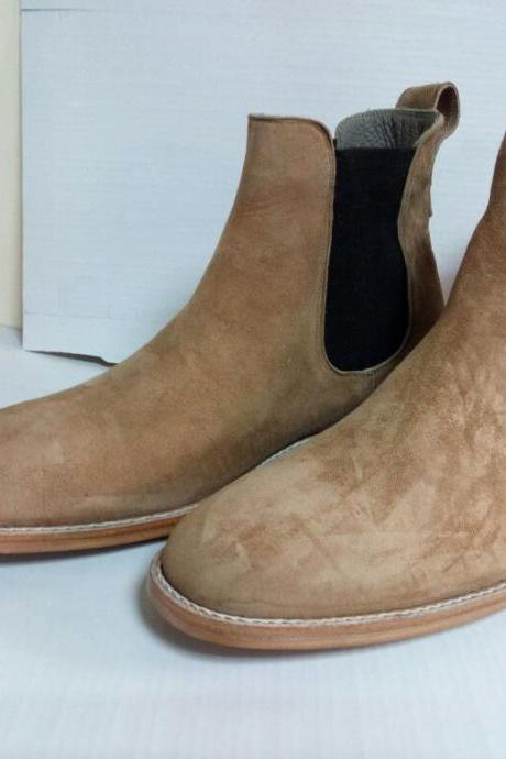 Handmade men camel boots, suede leather boots for men, chelsea boot for men