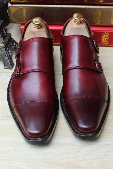 Custom Handmade Monk Leather Mens Dress Shoes Burgundy Color Double Strap Buckle