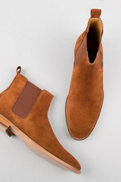 Handmade men tan boots, suede leather boot for men, men chelsea dress boots