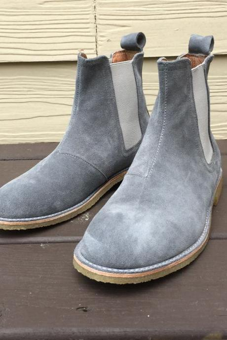 New Handmade Men Gray Chelsea Boot, Men Gray Suede Leather Boot, Men's Boot