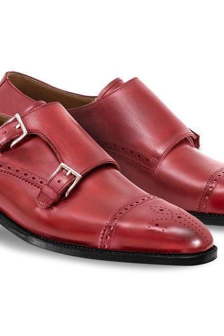 New Men's Red Double Strap And Buckle Brogue Toe With Contrast Sole Monk Shoes