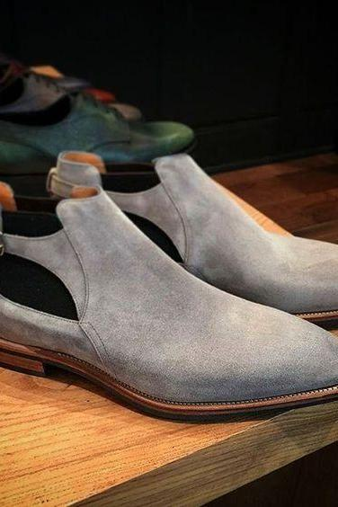 Handmade Mens Gray genuine suede jodhpurs boot, Men monk strap low ankle boot