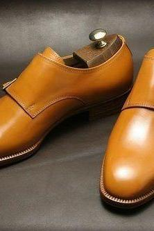 New Handmade tan leather shoes, double monk strap shoe, leather shoes for men, dress