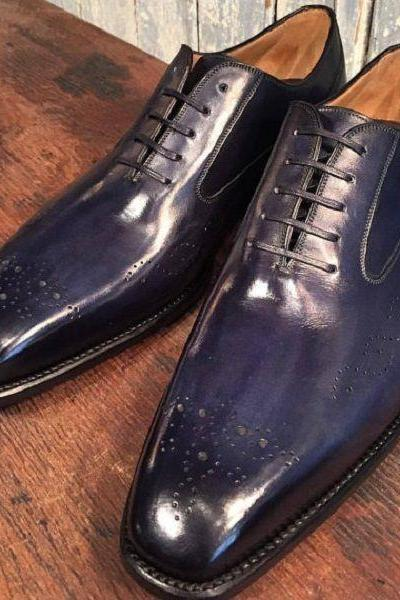 Custom Handmade Men's Formal Blue Color Derby Dress Leather Shoes with Black Toe