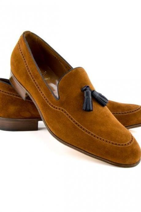 Handmade men leather shoes, tan suede tassel shoes, mocassin shoe for men, dress