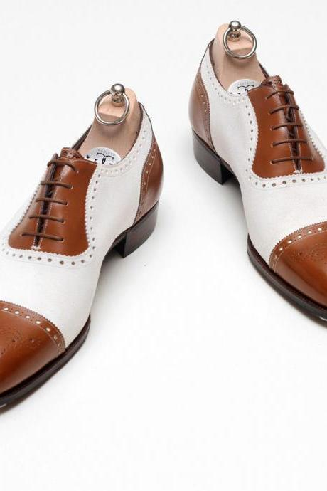 Men's Oxford Brown and White Brogue Handmade Dress Shoes With Double Color Shade