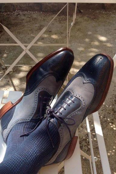 New Handmade Men Two tone formal shoes, Navy blue and Grey dress leather shoes men