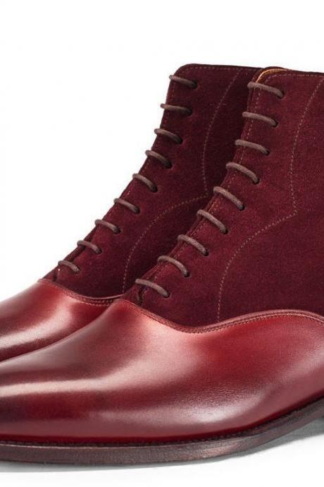 NEW HANDMADE MENS BURGUNDY CHELSEA CALF LEATHER AND SUEDE BOOT, MENS ANKLE BOOTS MEN
