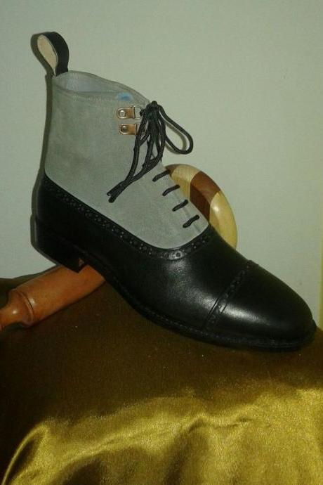 New Handmade Men's Gray suede And Black Leather Boots With Back Pull And Lace Up boots men