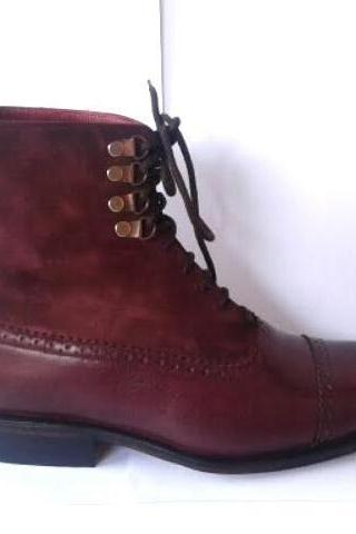 New Handmade men burgundy boots, suede leather boot for men, men dress leather boots men